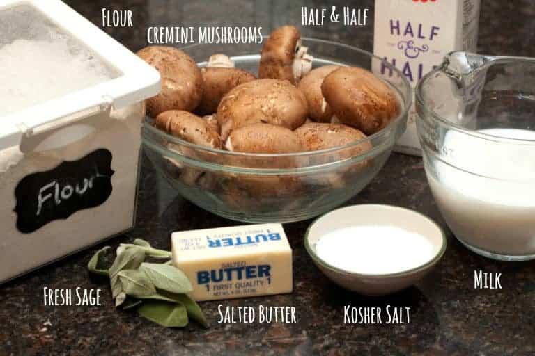 flour, mushrooms, butter, sage, salt, milk, and half and half on a counter.