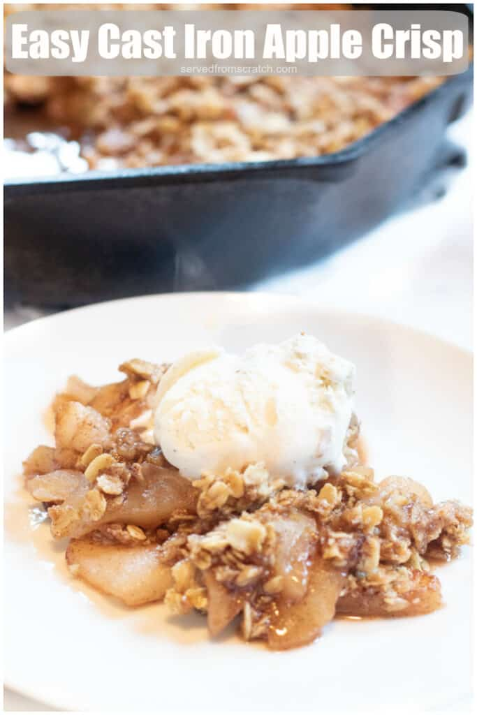 a plate of apple crisp with ice cream on top with Pinterest pin text.