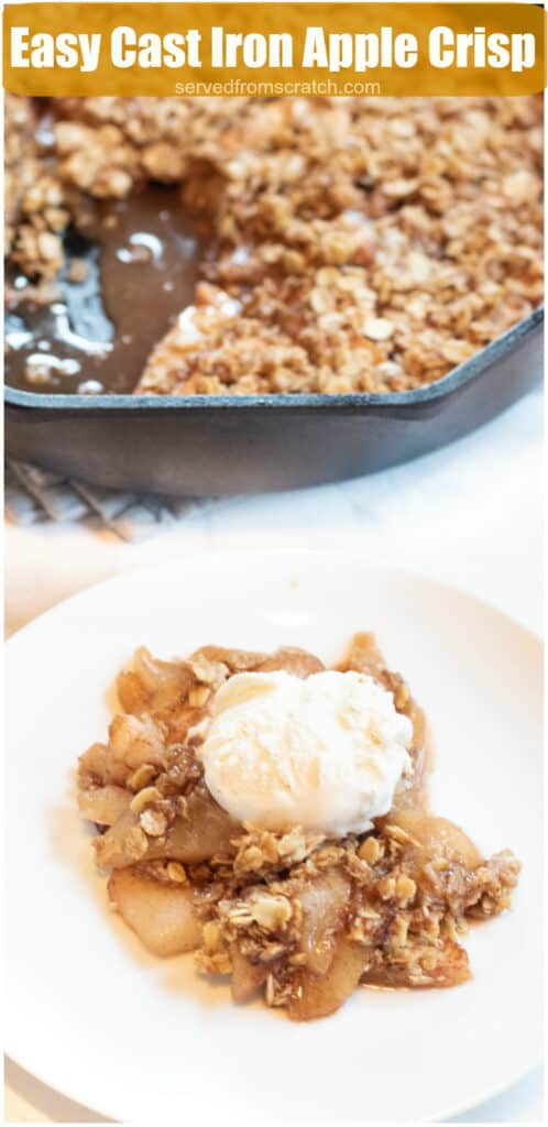a plate of apple crisp with ice cream in front of a cast iron of apple crisp