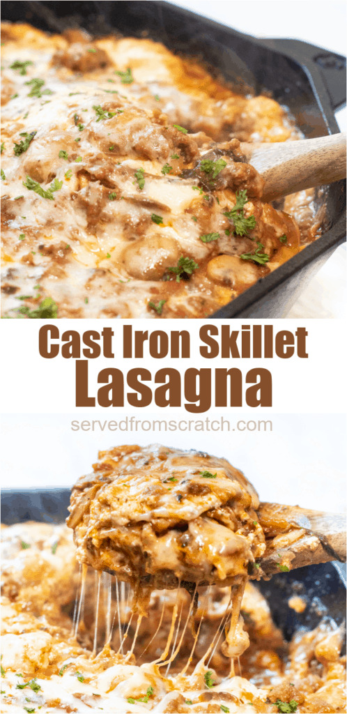 cast iron lasagna and wooden spoon with a piece of lasagna with Pinterest pin text.
