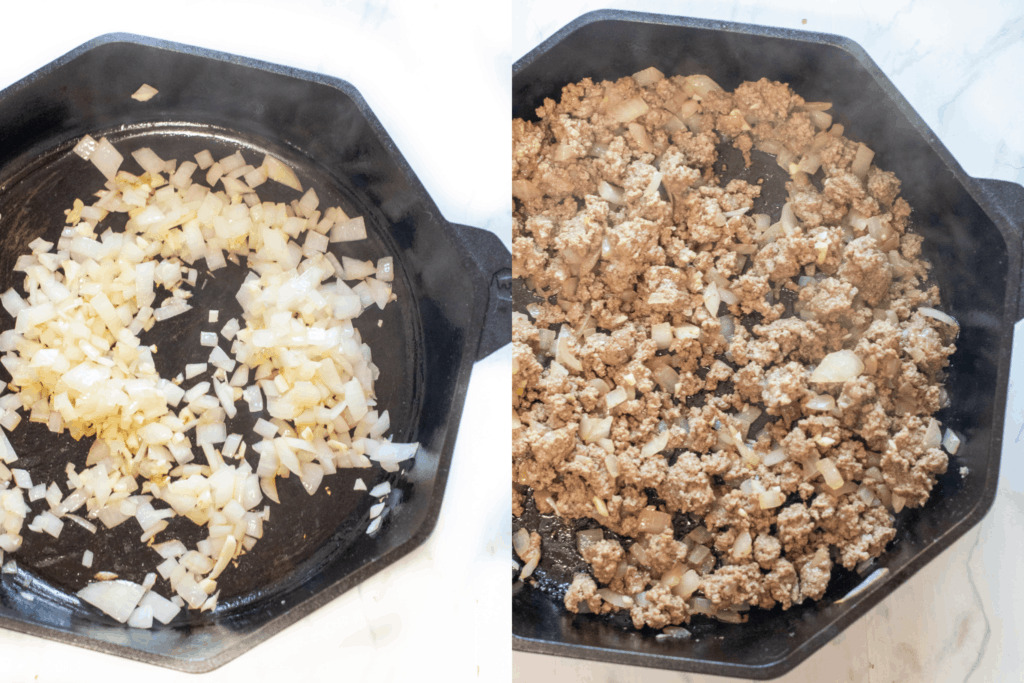 cast iron of onions and garlic and cast iron of ground beef