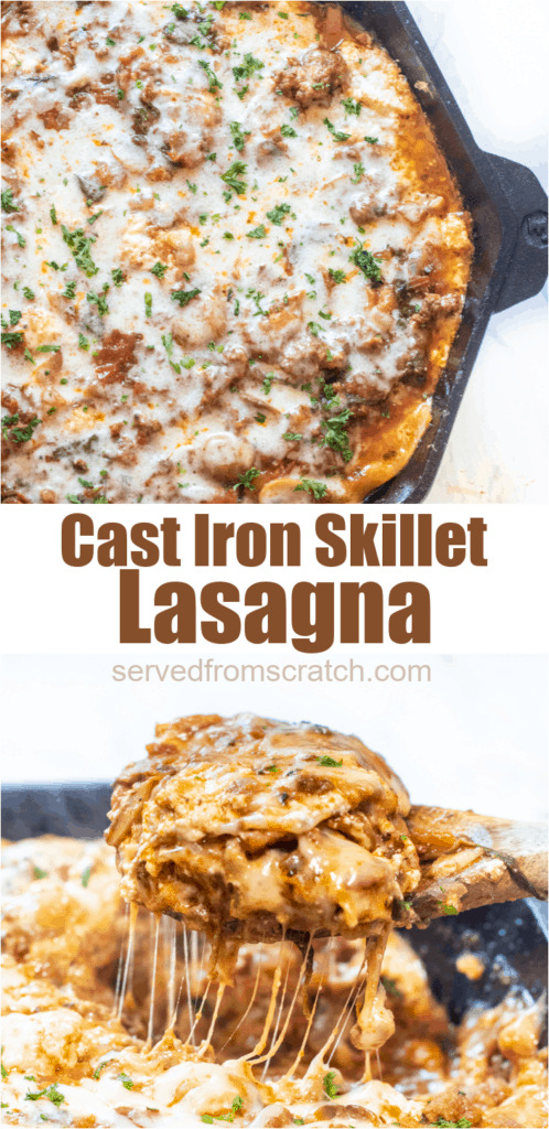 cast iron lasagna and wooden spoon with a piece of lasagna