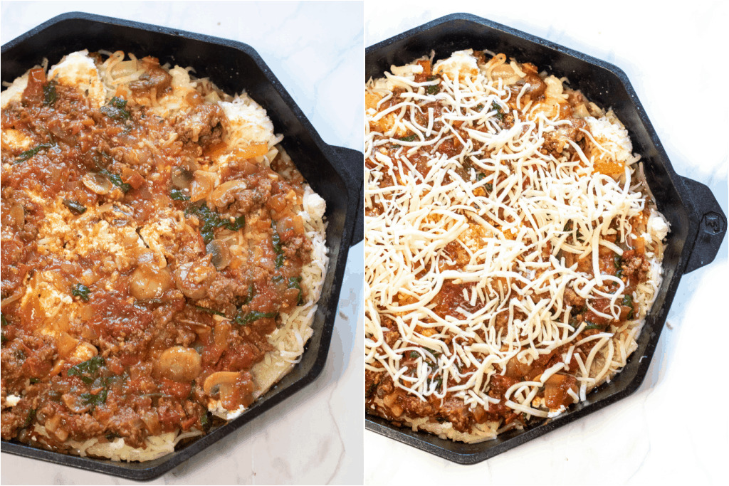 two cast irons, one with sauce and one topped with cheese