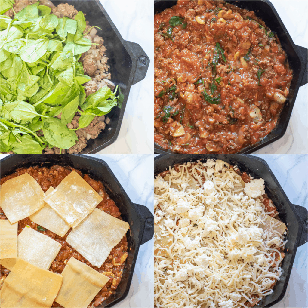 4 cast irons, one with ground beef and spinach, one mixed with mushroom sauce, one topped with lasagna noodles, and one with cheese