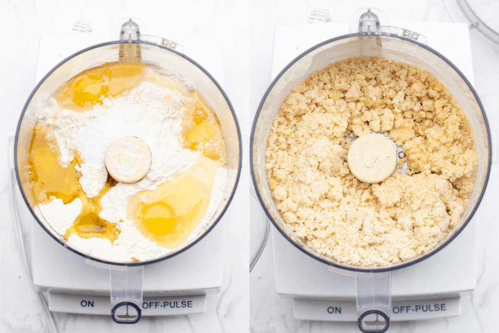 overhead of two food processors with eggs and flour and crumbled dough