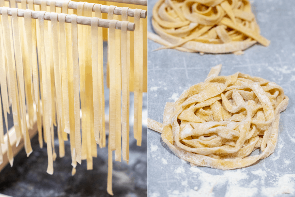 fresh linguine pasta drying on rock and in nests