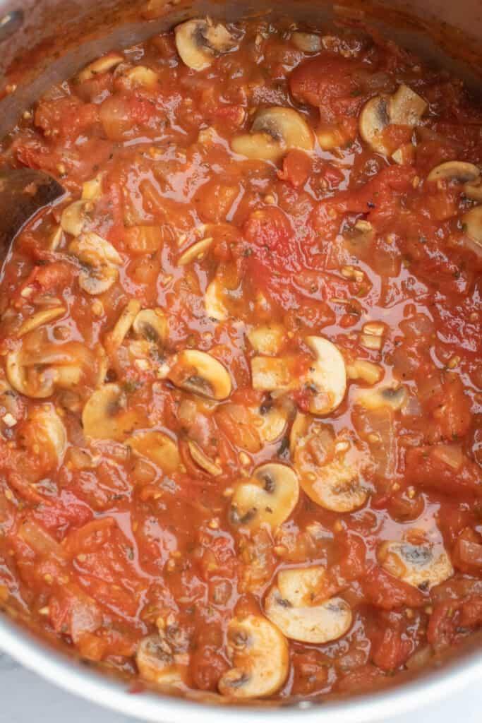 a pot of mushroom marinara