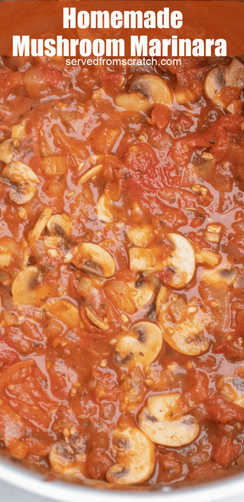 an overhead of a large pot with mushroom marinara with Pinterest pin text.