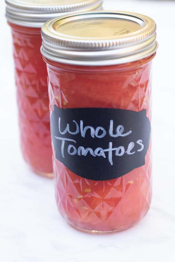 2 mason jars of whole tomatoes