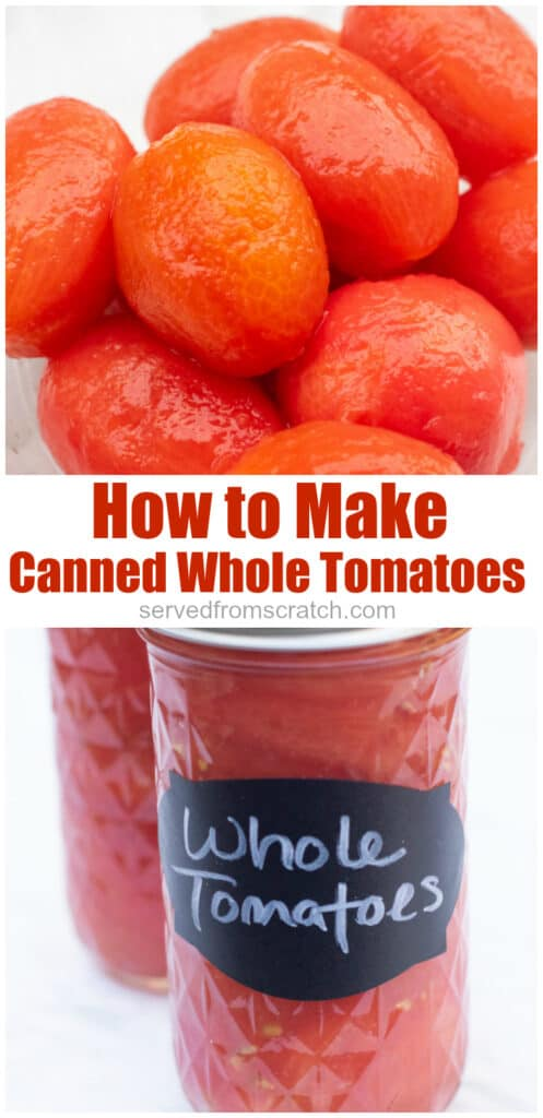whole peeled tomatoes and a jar of whole tomatoes