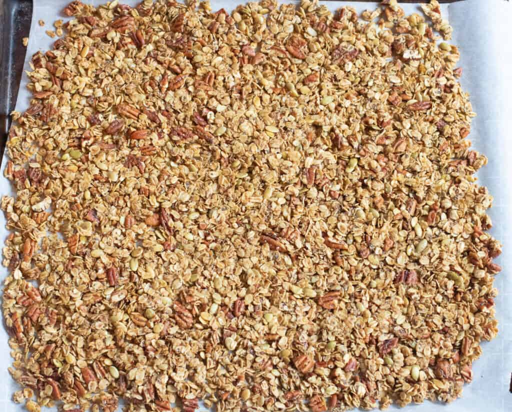 a baked sheet of pecan granola