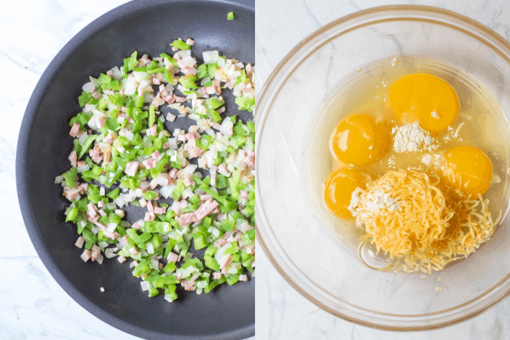 a pan with diced ham and peppers next to a bowl of eggs cheese and onion powder