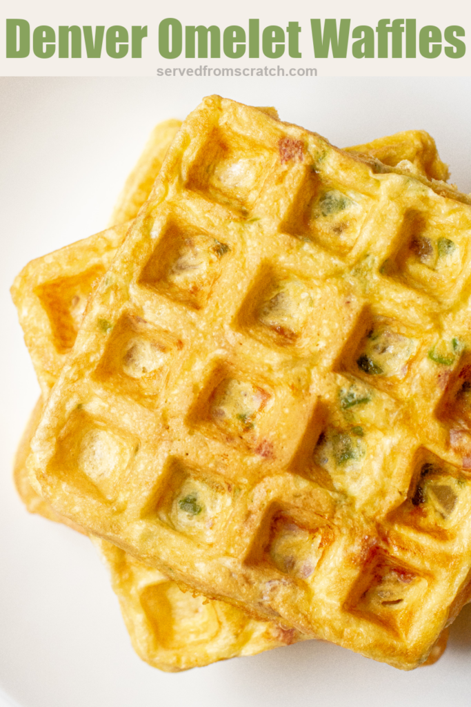 an overhead of a stack of egg waffles