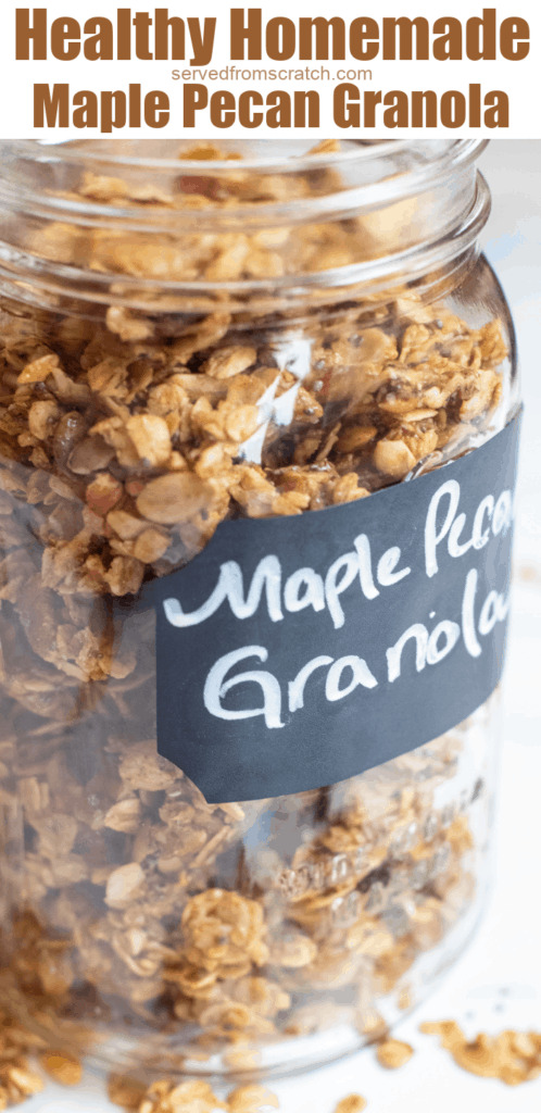 a close up of a jar of granola