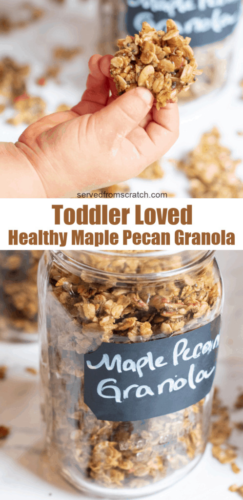 a toddler holding a cluster of granola and a jar of granola