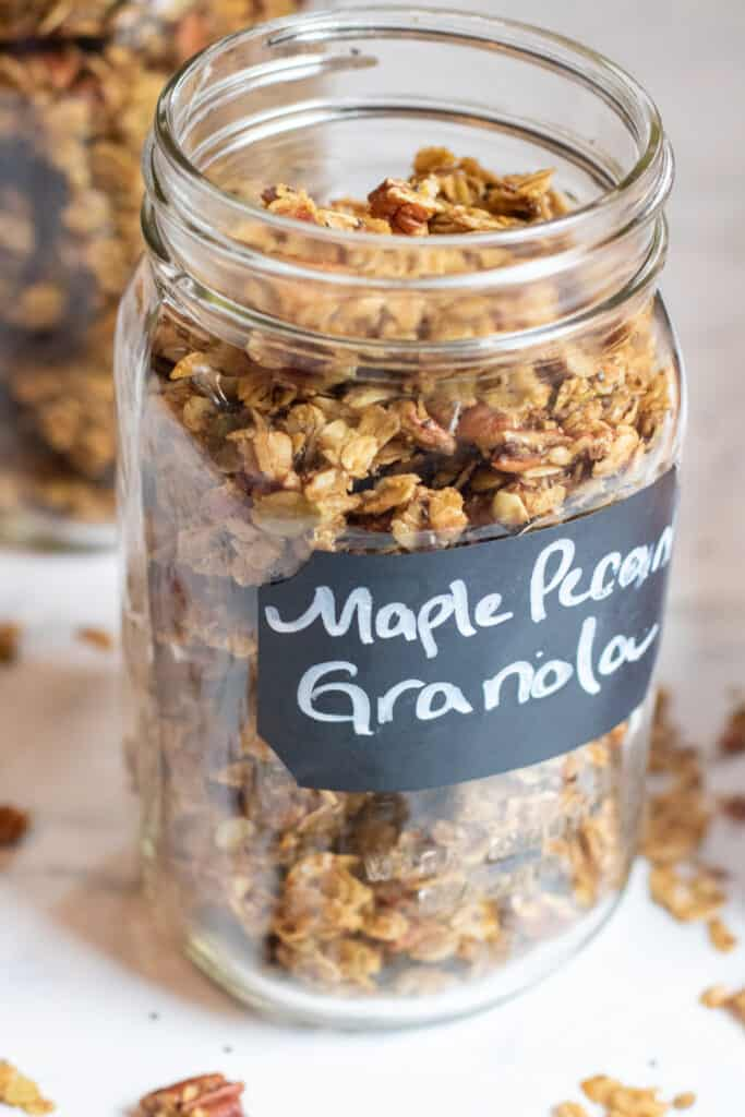 a large mason jar of granola
