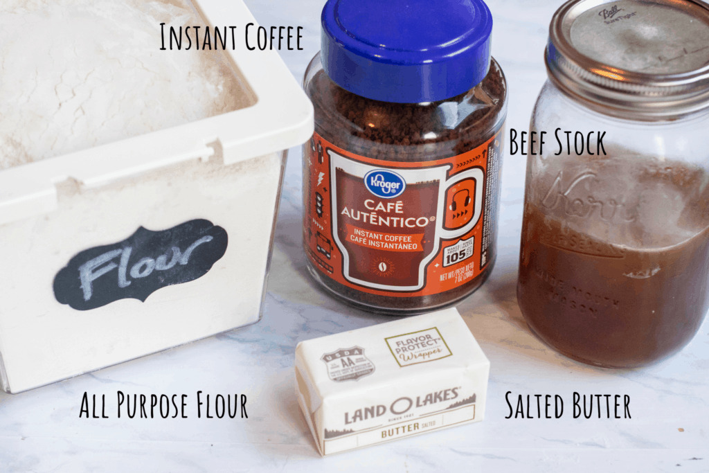 flour, butter, instant coffee, and a jar of beef stock on counter