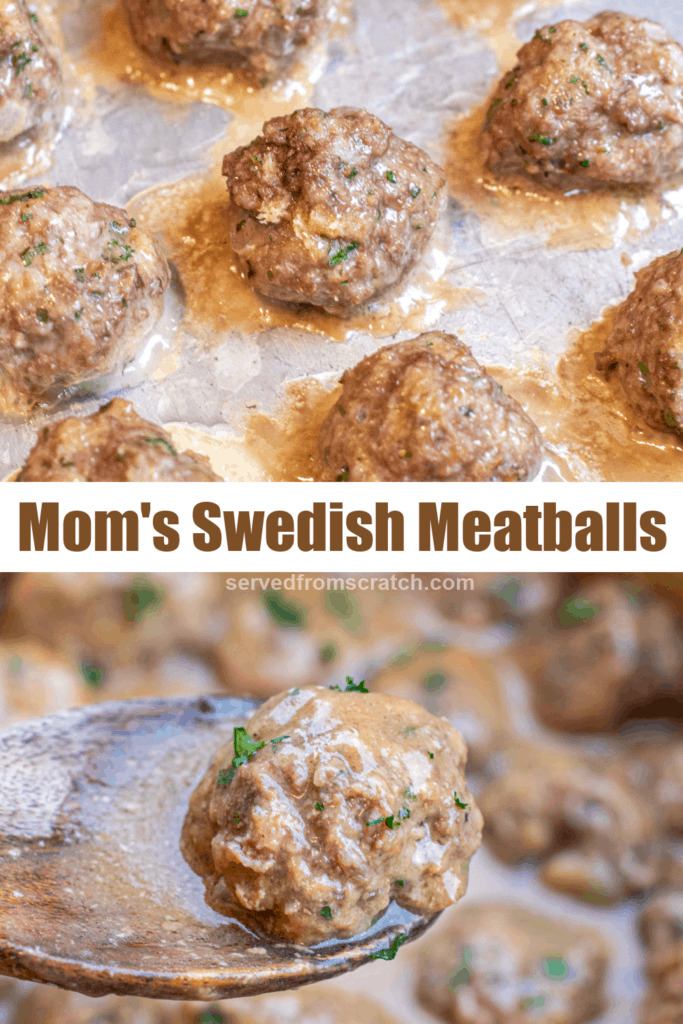 meatballs on a baking sheet and on a wooden spoon with Pinterest pin text.
