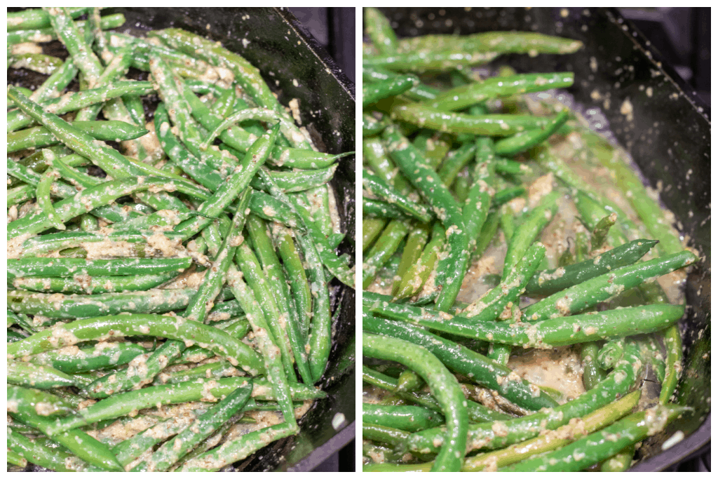 green beans in a pan with dijon mustard
