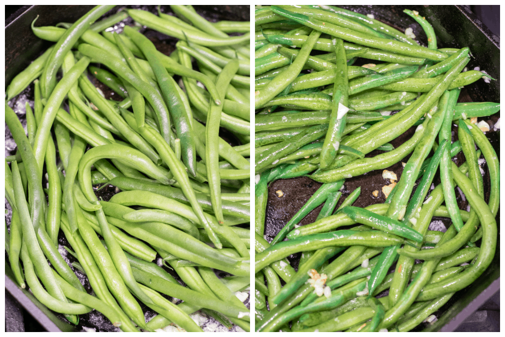 whole green beans in a pan and then mixed with butter and garlic