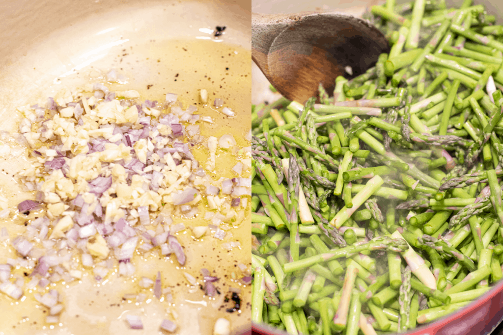 shallots and garlic in oil and a pot with asparagus and a wooden spoon