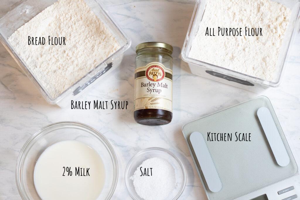 flours, malt syrup, milk, salt, kitchen scale