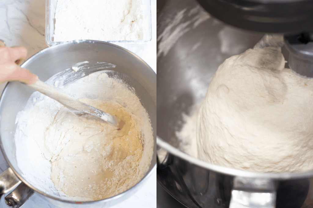 stand mixer with a wooden spoon mixing in dough and then in a stand mixer