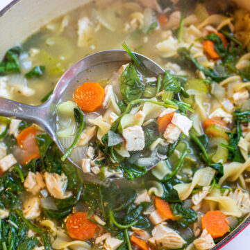 a pot of veggie noodle soup with spinach with ladle