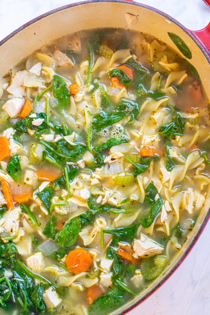 stock pot with soup with spinach and noodles