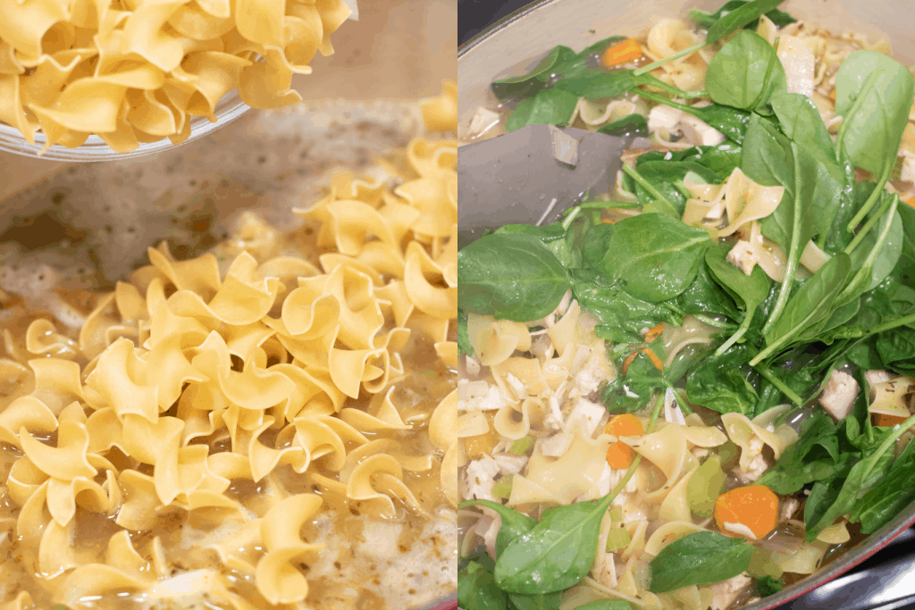 pot of soup with noodles being added and also with spinach added