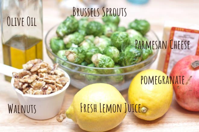 olive oil, brussels sprouts, lemons, walnuts, cheese, pomegranates