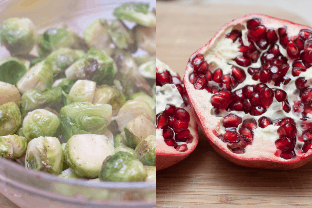 a bowl of roasted brussels sprouts and a halved pomagranate