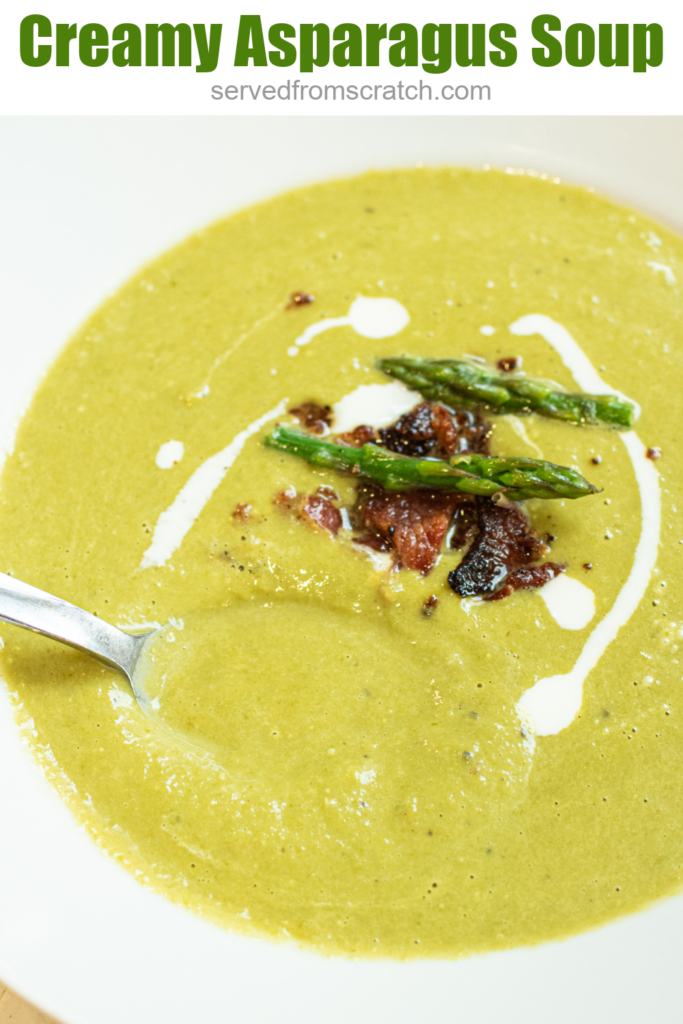 a bowl of green soup topped with bacon and asparagus and Pinterest text.