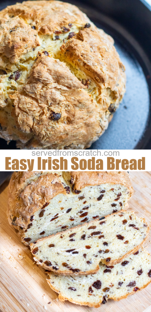 baked bread with raisins in a cast iron skillet baked bread with raisins sliced on cutting board and pinterest text.