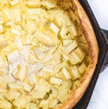 apple filled cast iron german pancake