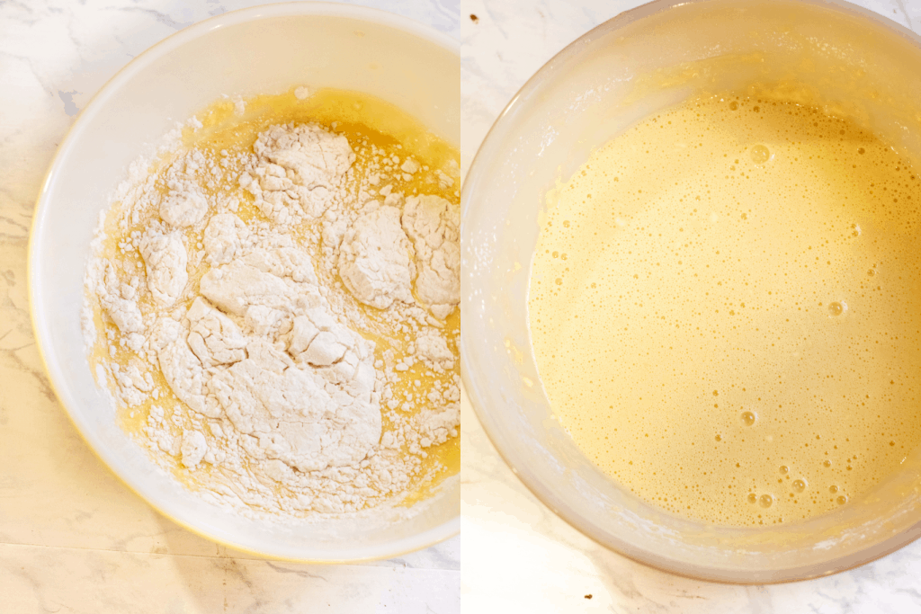 bowl with flour and egg mixture and then bowl with it all mixed