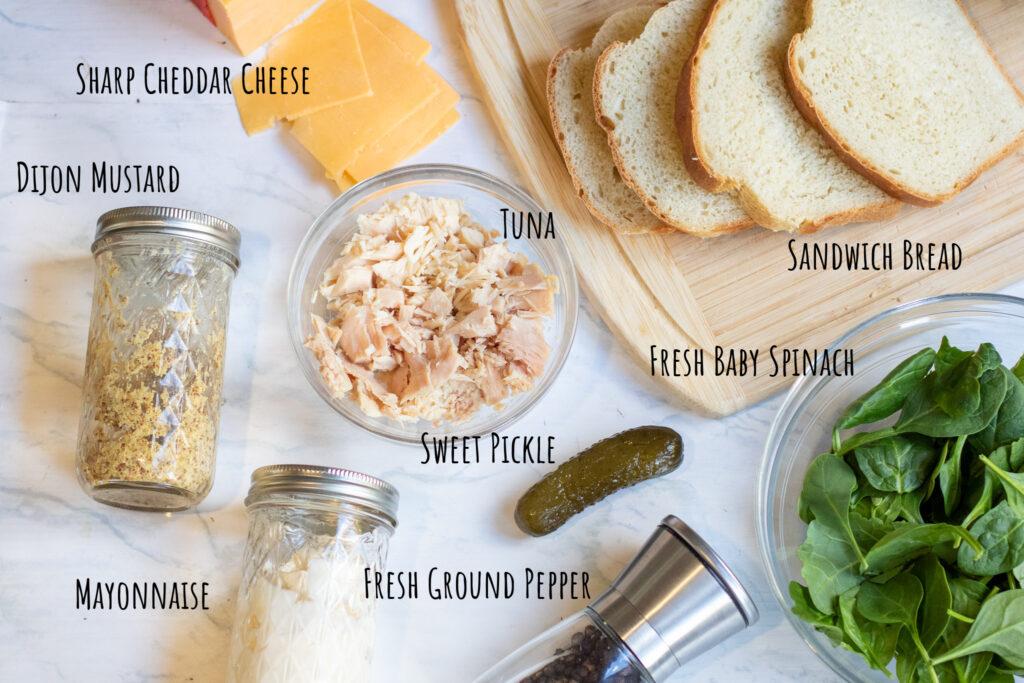 dijon, mayo, spinach, bread, tuna, cheese, pickle, pepper