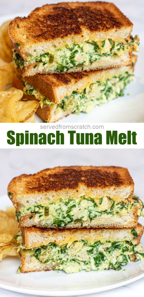 stacked sliced tuna melts with spinach with Pinterest Pin text.