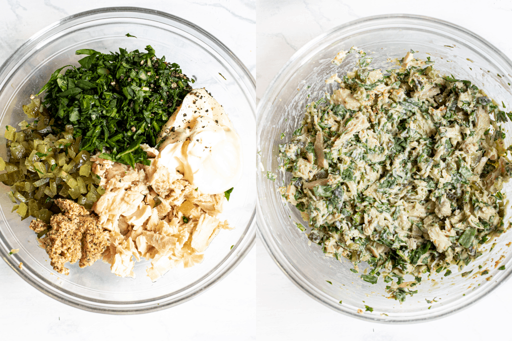 two bowls of spinach and tuna, pickle, dijon separated and then mixed.