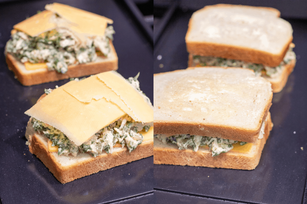 sandwiches on griddles one open with tuna and slices of cheese and then topped with bread