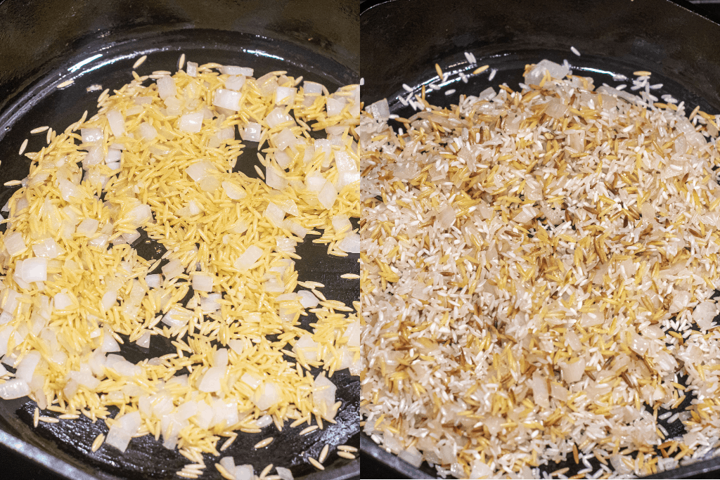 cast iron with onion and orzo and then rice