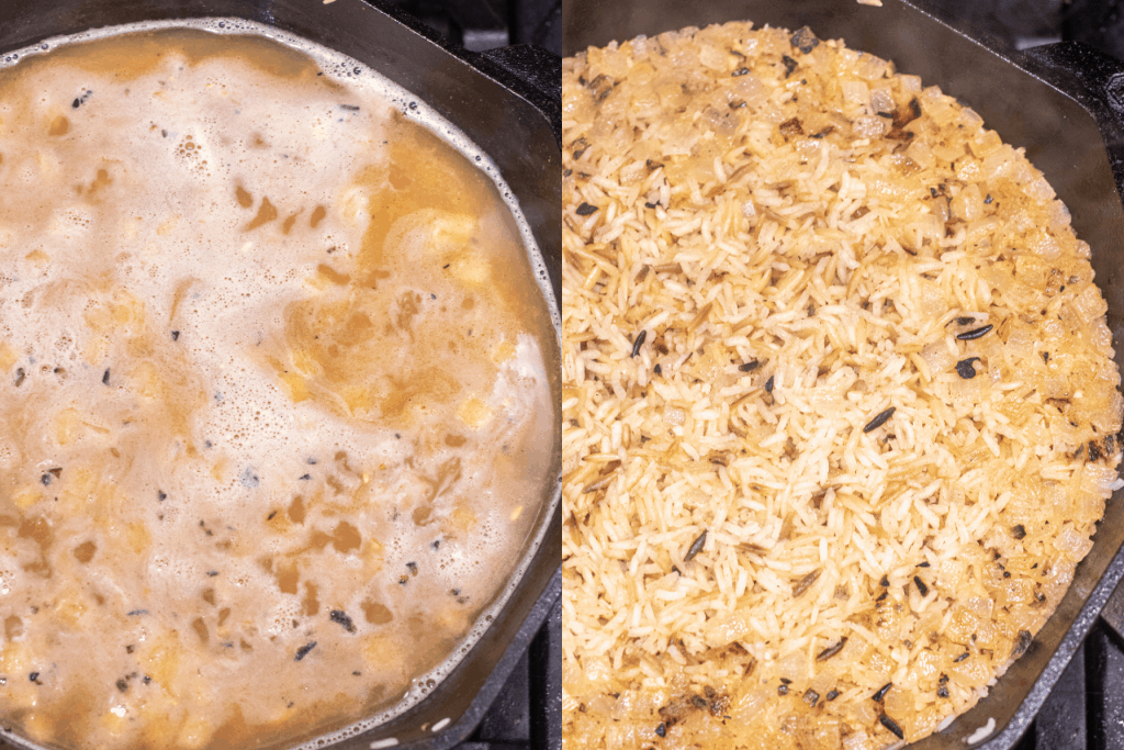 cast iron with stock and rice and then cooked rice