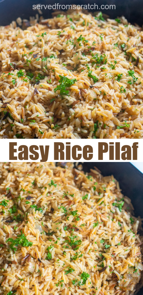 a cast iron with cooked rice pilaf and parsley and Pinterest text.
