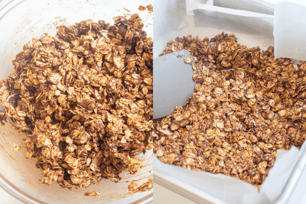 a bowl of mixed oats and a spatula spreading them in the pan.