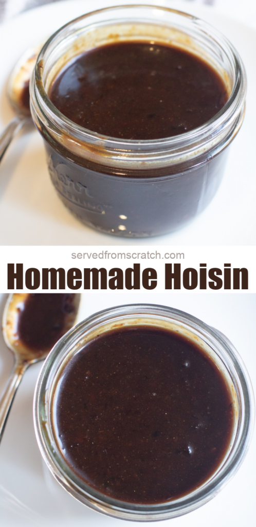 two mason jars of open hoisin sauce with Pinterest pin text.