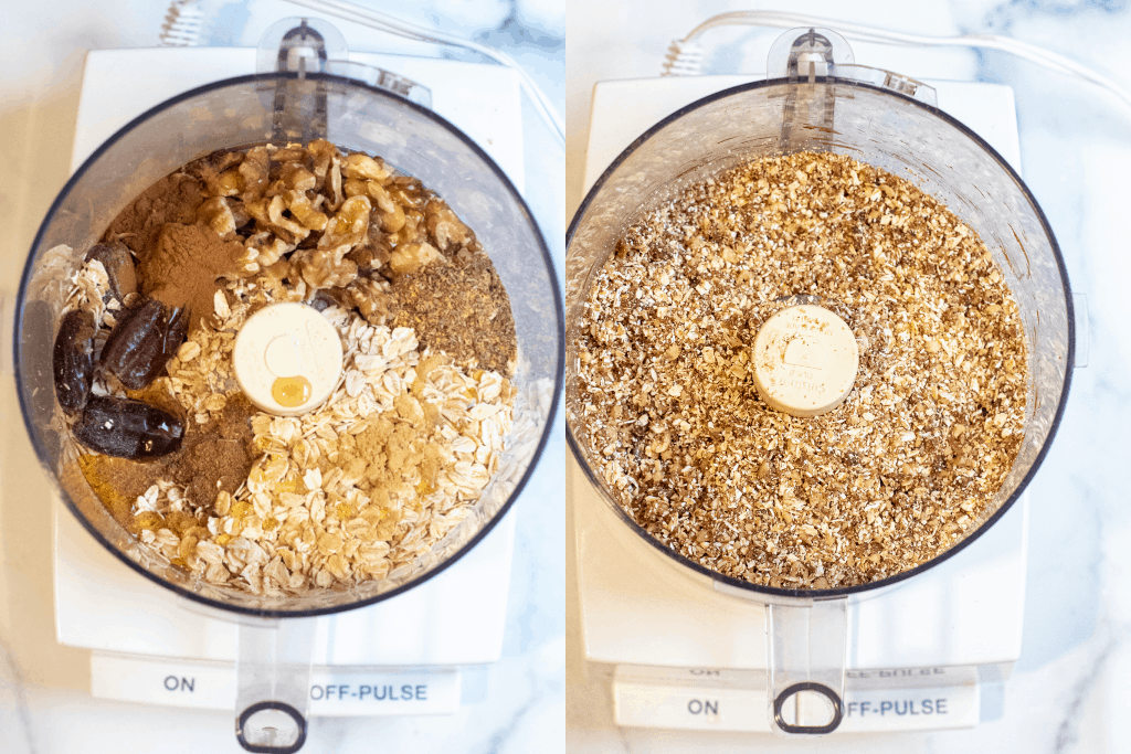 two food processors, one with dates, walnuts, oats, and spices and the other with it all blended.
