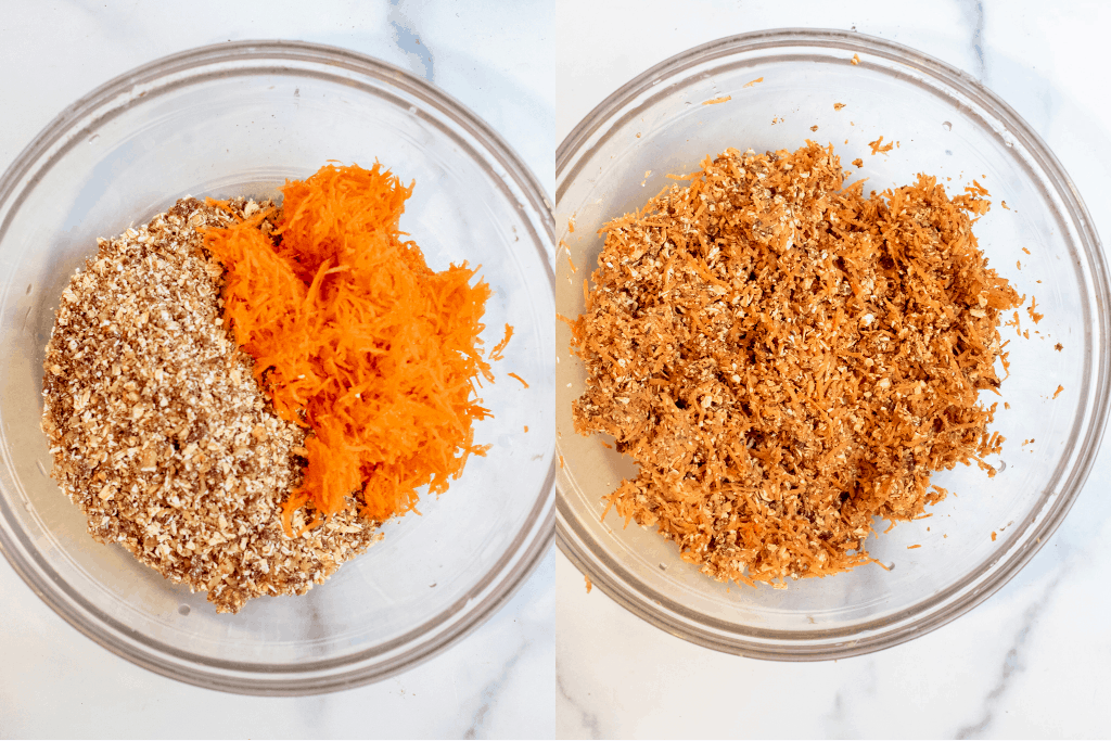 two bowls, one with shredded carrots and oat mixture and then all mixed together.