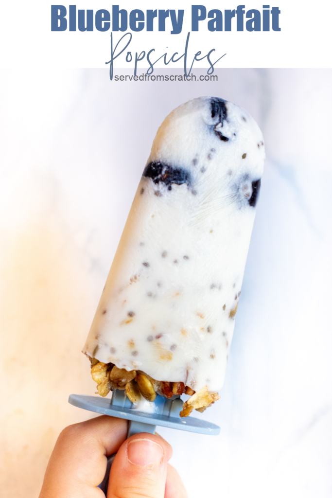 a hand holding a popsicle with blueberries and granola.
