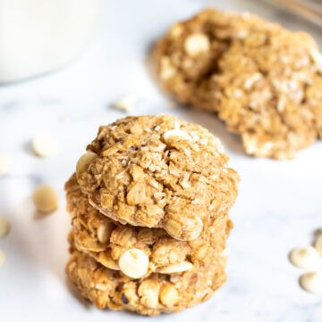 stacked oatmeal white chocolate chip cookies.