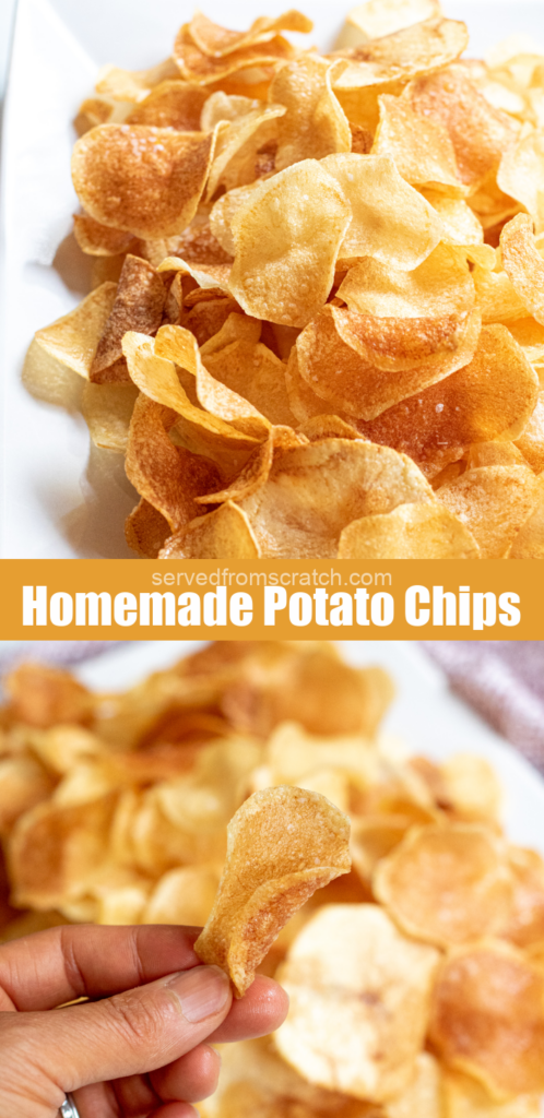 a plate of thin crispy potato chips and a hand holding a chip with Pinterest pin text.